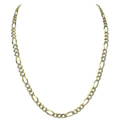 14 Karat Yellow and White Gold Diamond Cut Figaro Link Chain Necklace