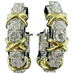 14 Karat Yellow and White Gold Diamond Hoop Earrings