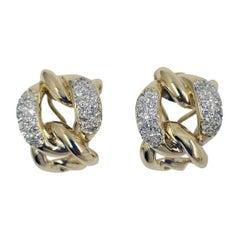 14 Karat Yellow and White Gold Diamond Link Earrings