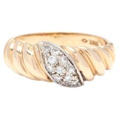 14 Karat Yellow and White Gold Diamond Ridged Band Ring
