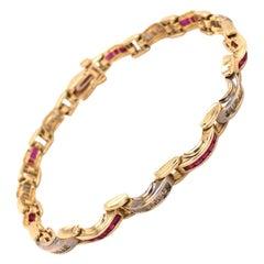 14 Karat Yellow and White Gold Diamond Ruby Bracelet
