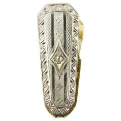 14 Karat Yellow and White Gold Diamond Tie Clip