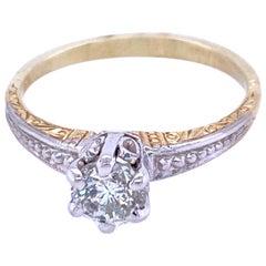 14 Karat Yellow and White Gold Engagement Ring