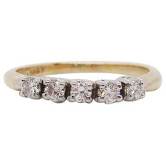 14 Karat Yellow and White Gold Estate Five-Stone Diamond Anniversary Band