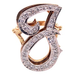 14 Karat Yellow and White Gold Initial Style 'J' Diamond Studded Ring