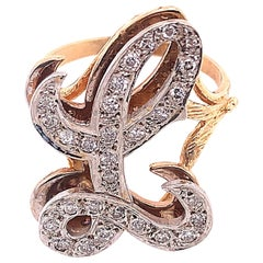 14 Karat Yellow and White Gold Initial Style 'L' Diamond Studded Ring