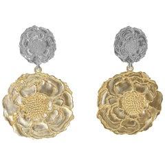 14 Karat Yellow and White Gold Marigold Flower Earrings