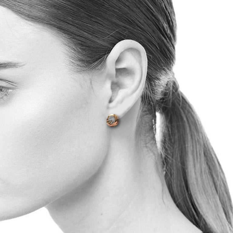 Contemporary 14 Karat Yellow and White Gold Open Stud Earrings with 0.04 Carat Diamonds For Sale