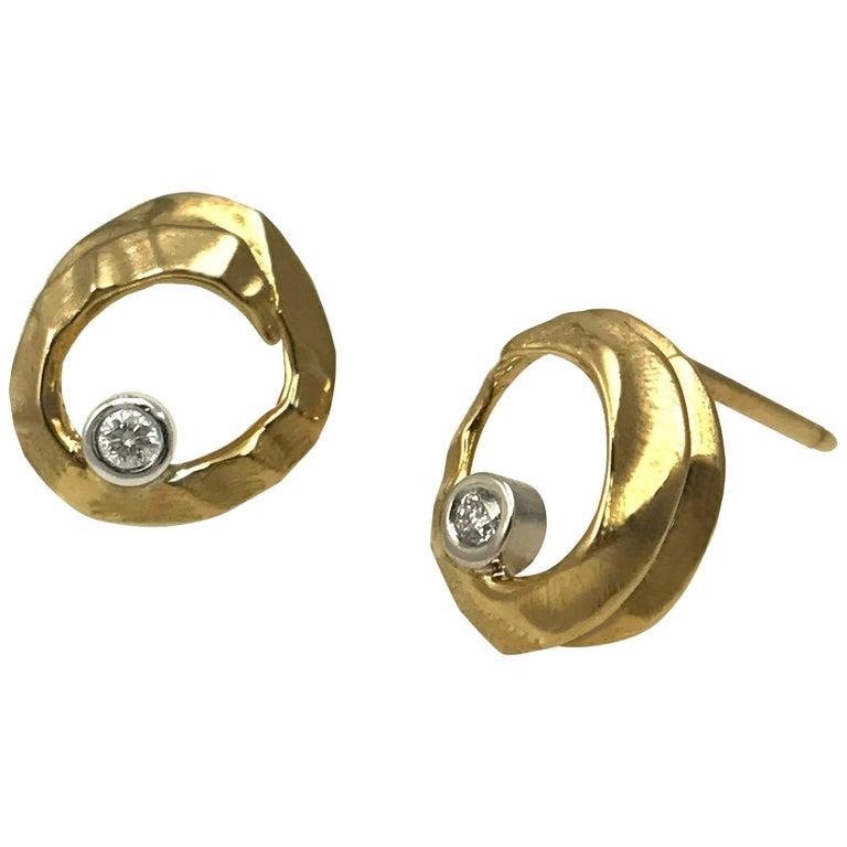 14 Karat Yellow and White Gold Open Stud Earrings with 0.04 Carat Diamonds For Sale