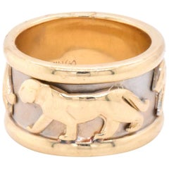 14 Karat Yellow and White Gold Panther Band
