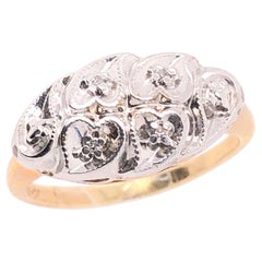 14 Karat Yellow and White Gold Ring with Diamond Multi Hearts