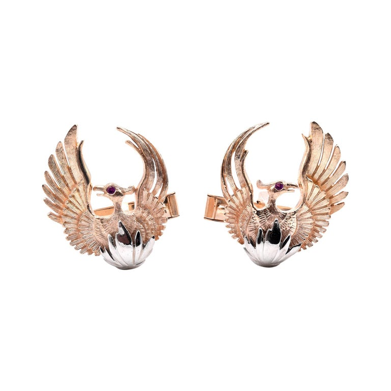 14 Karat Yellow and White Gold Rising Phoenix Cufflinks with Ruby Eyes For Sale