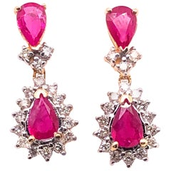 14 Karat Yellow and White Gold Ruby with Diamond Accent Drop / Dangle Earrings