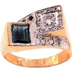 14 Karat Yellow and White Gold Sapphire and Diamond Contemporary Ring
