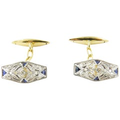 14 Karat Yellow and White Gold, Sapphire and Diamond Cufflinks
