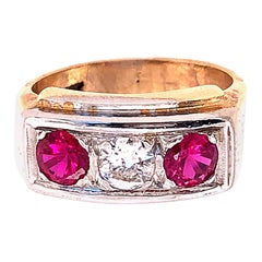 14 Karat Yellow and White Gold Three-Stone Diamond and Ruby Band Ring