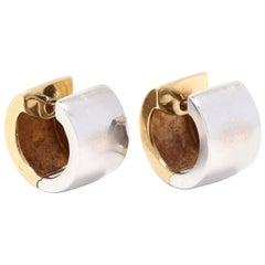 14 Karat Yellow and White Gold Wide Huggie Hoop Earrings