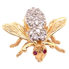 14 Karat Yellow and White Gold with Diamond Bee / Insect Brooch
