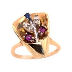 14 Karat Yellow and White Gold with Semi Precious Stones Freeform Ring