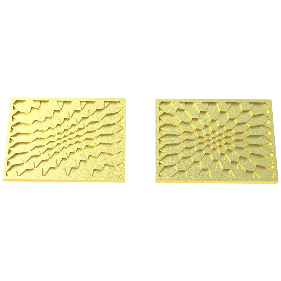14 Karat Yellow  Gold  Optical Art  Rectangle Cuff links