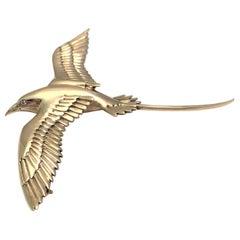 14 Karat Yellow Diamond Long-Tailed Bird Brooch