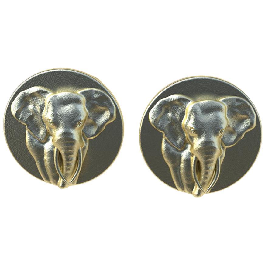 14 Karat Yellow Gold Elephant Cuff links