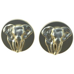14 Karat Yellow Gold Elephant Cuff links