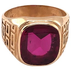 14 Karat Yellow Etched Gold and Garnet Solitaire Fashion Ring
