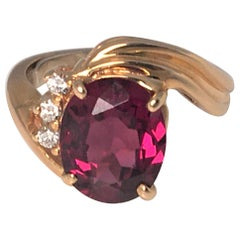 14KY Garnet Diamond Ring