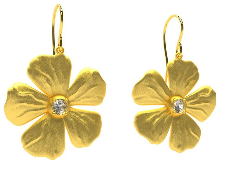 Round Cut 14 Karat Yellow Gia Diamond Periwinkle Flower Earrings For Sale