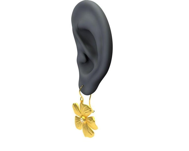 Women's 14 Karat Yellow Gia Diamond Periwinkle Flower Earrings For Sale