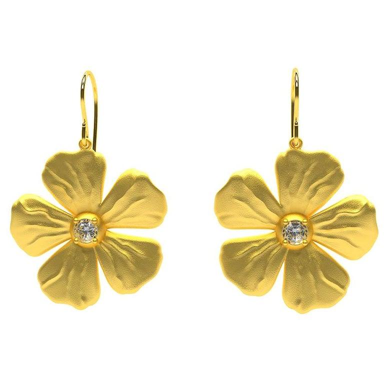14 Karat Yellow Gia Diamond Periwinkle Flower Earrings For Sale