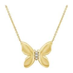 14 Karat Yellow Gold 0.02 Carat Diamond Butterfly Necklace