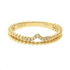 14 Karat Yellow Gold 0.03 Carat Diamonds Fancy Chevron Band Ring