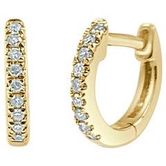 14 Karat Yellow Gold 0.05 Carat Huggie Hoop Earrings