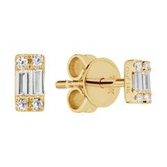 14 Karat Yellow Gold 0.08 Carat Cluster Baguette Diamond Earrings