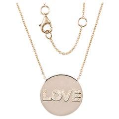 14 Karat Yellow Gold 0.09 Carat Diamond Love Disc Necklace