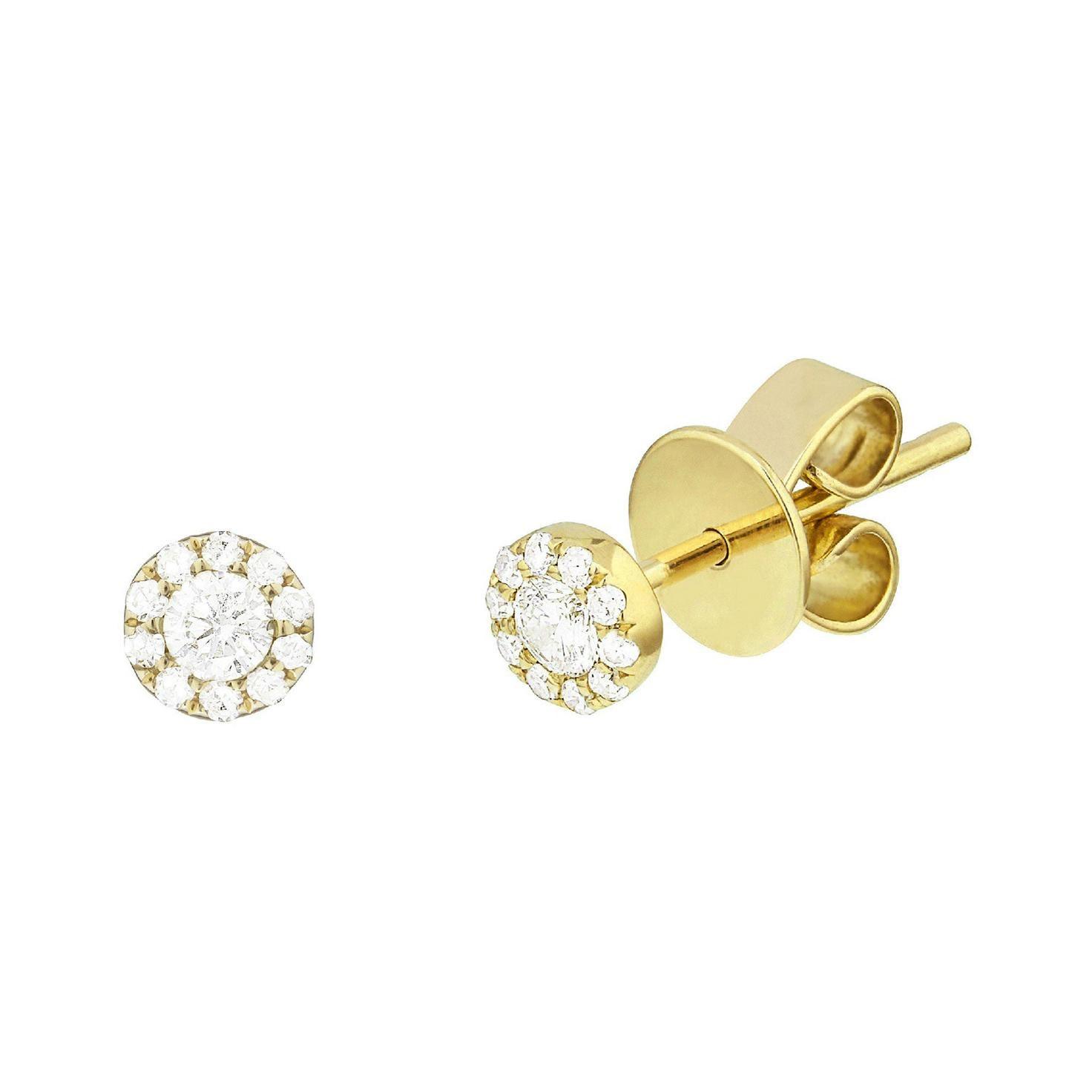 14 Karat Yellow Gold 0.115 Carat Diamond Cluster Earrings