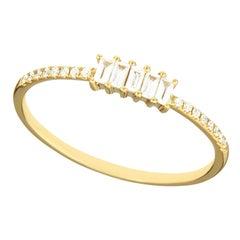 14 Karat Yellow Gold 0.145 Carat Round and Baguette Diamond Band Ring