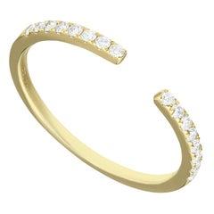 14 Karat Yellow Gold 0.155 Carat Round Diamond Open Band Ring