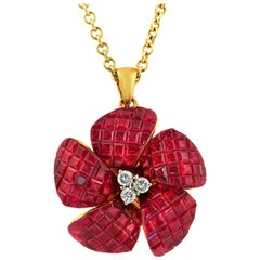 14 Karat Yellow Gold 0.16 Carat Diamonds 10.54 Carat Invisible Set Ruby Necklace