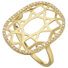 14 Karat Yellow Gold 0.16 Carat Round Diamond 1920s Inspired Plaque Ring