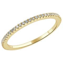 14 Karat Yellow Gold 0.18 Carat Diamond Stackable Eternity Band Size 6.5
