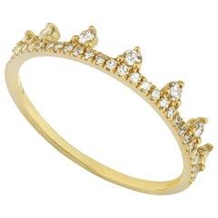 14 Karat Yellow Gold 0.19 Carat Round Diamond Dotted Tiara Style Ring