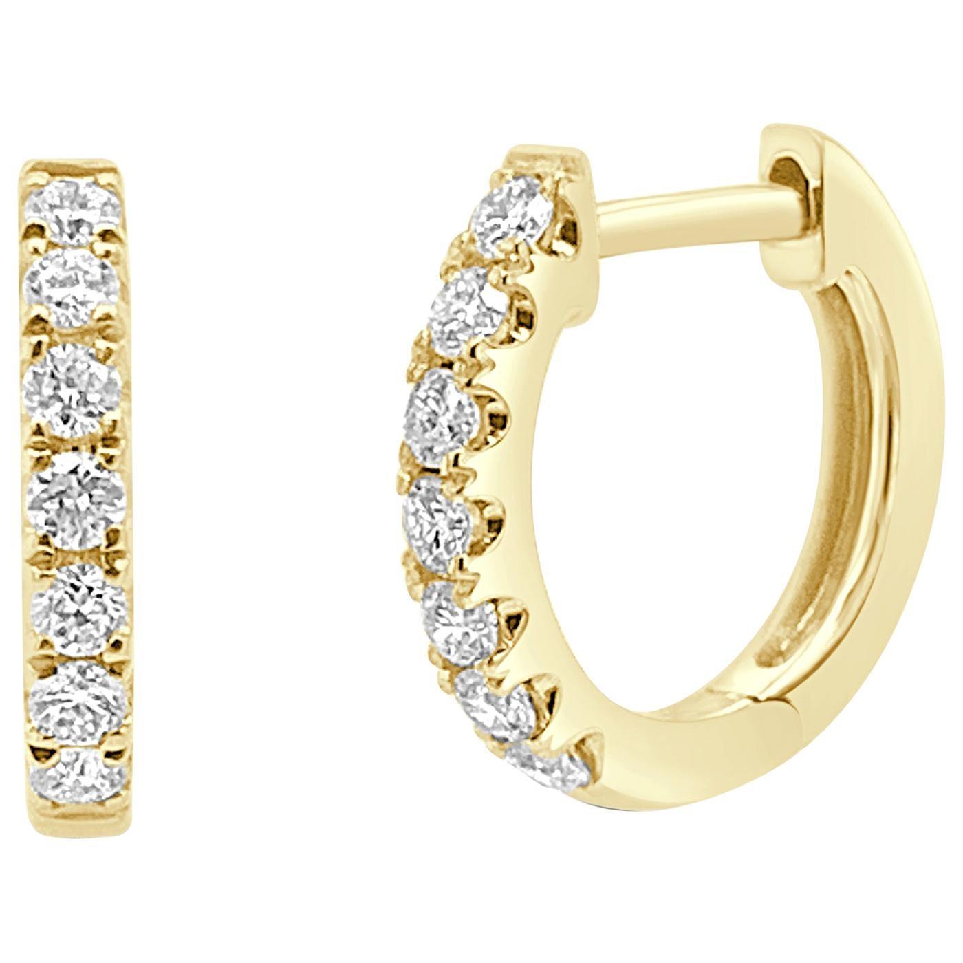 14 Karat Yellow Gold 0.20 Carat Diamond Huggie Earrings