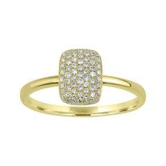 14 Karat Yellow Gold 0.22 Carat Round Diamond Rectangle Ring