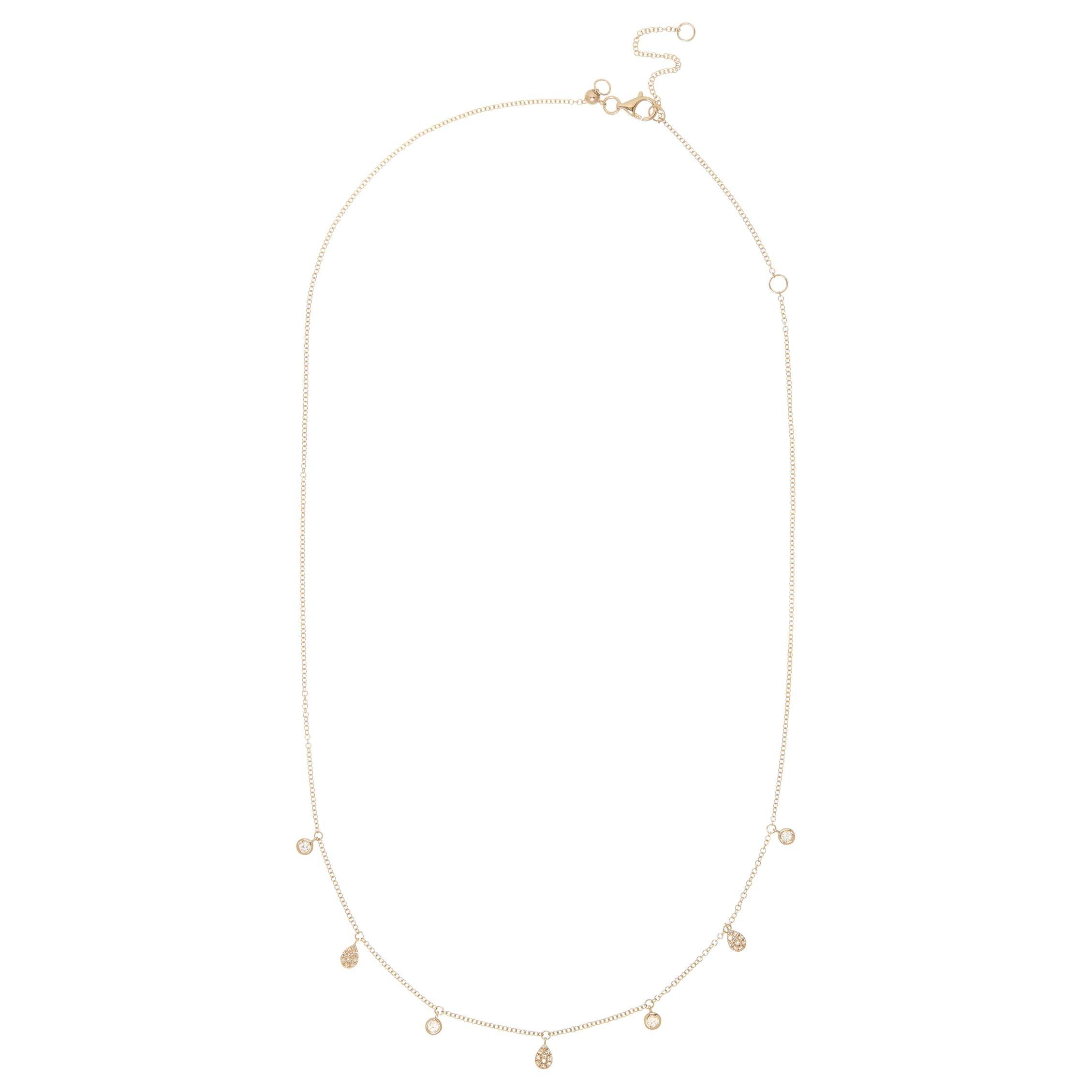 14 Karat Yellow Gold 0.217 Carat Round Diamond and Pear-Shape Pave Chain Pendant