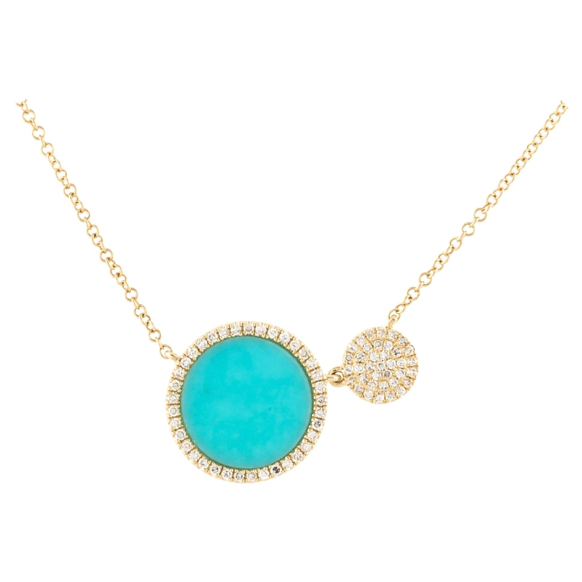 14 Karat Yellow Gold 0.22 Carat Diamond and Turquoise Pendant Necklace