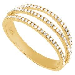 14 Karat Yellow Gold 0.23 Carat Round Diamond Triple Line Band Ring