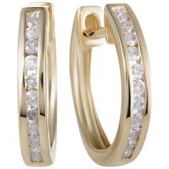 14 Karat Yellow Gold 0.25 Carat Diamond Hoop Earrings